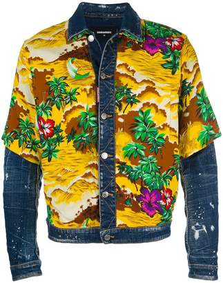 DSQUARED2 floral printed denim jacket
