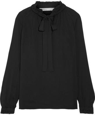 MICHAEL Michael Kors - Pussy-bow Silk Blouse - Black $240 thestylecure.com