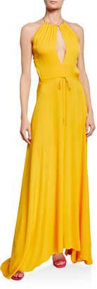 Milly Geneva Halter Open-Back Long Dress