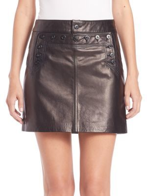 Polo Ralph Lauren Leather Mini Skirt $598 thestylecure.com