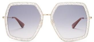 Gucci Hexagon Glitter Acetate Sunglasses - Womens - Silver