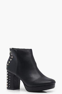boohoo Womens Libby Stud Detail Platform Ankle Boots in Black size 6