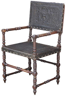 One Kings Lane Vintage 19th C. French Embossed Leather Chair - de-cor