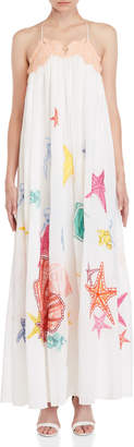 Emilio Pucci Embroidered Cotton Muslin Maxi Dress
