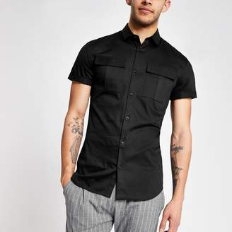 River Island Mens Black muscle fit utility shirt