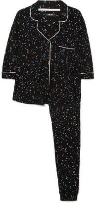 DKNY Seeing Stars Printed Jersey Pajama Set - Black