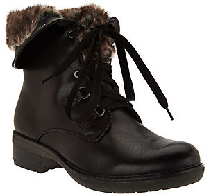 As Is BareTraps Lace-up Boots with Faux Fur Lining $41 thestylecure.com