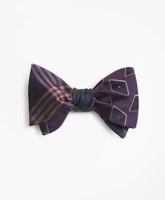 Brooks Brothers Large Diamond with Oversized Plaid Reversible Bow Tie