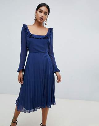Asos Design DESIGN pleated ruffle square neck midi dress with long sleeves
