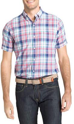Izod Dockside Chambray Plaid Sport Shirt
