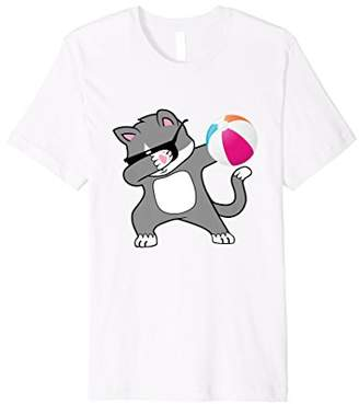 Dabbing Cat Tshirt Summer Beach Ball Kitty Cats Tee
