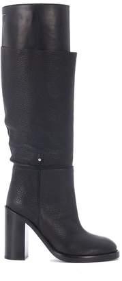 MM6 MAISON MARGIELA Black Tumbled Nappa Leather Boots