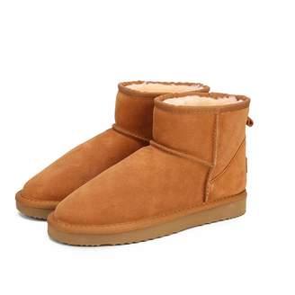 smile-bi Women Snow Boots Genuine Cowhide Leather Ankle Boots Warm Winter  Boots Woman Shoes 48c8d04634