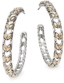 """John Hardy Padi 18K Yellow Gold & Sterling Silver Hoop Earrings/1.5"""""""