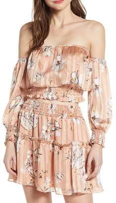 4SI3NNA the Label Floral Off the Shoulder Satin Crop Top