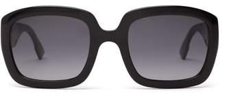 Christian Dior Oversized Square Frame Acetate Sunglasses - Womens - Black