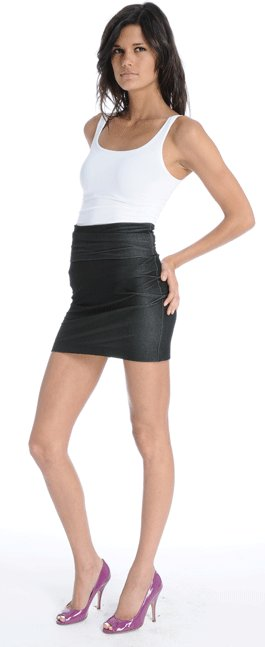 Members Only High Waisted Stretch Denim Mini Tube Skirt in Black