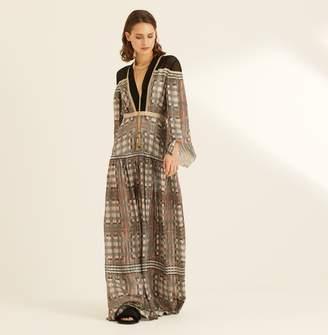 5fea8938a Amanda Wakeley Printed Metallic Lattice Check Maxi Dress
