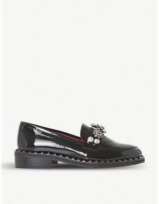 Dune Black Gem Stone patent leather loafers