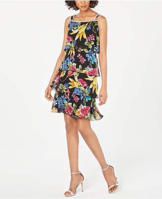 MSK Tiered Floral-Print Dress