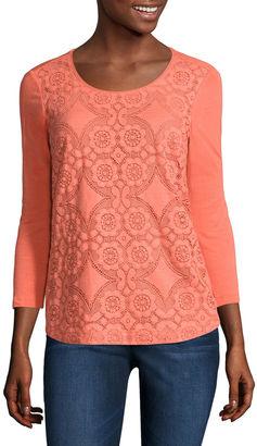 LIZ CLAIBORNE Liz Claiborne 3/4 Sleeve Crew Neck T-Shirt $36 thestylecure.com
