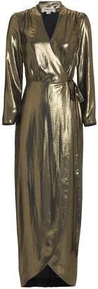 L'Agence Reliah Gold Lame Wrap Dress