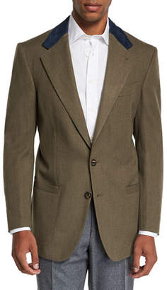 Stefano Ricci Men's Campagna Wool Sport Jacket with Suede Details