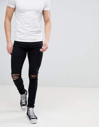 Dr. Denim Leroy Black Ripped Knees Skinny Jeans