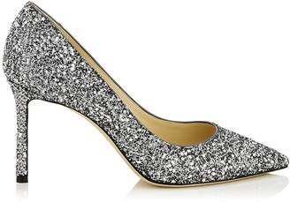Jimmy Choo ROMY 85 Gunmetal Star Coarse Glitter Fabric Pointy Toe Pumps