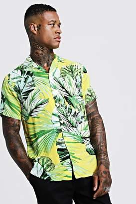 boohoo Palm Print Short Sleeve Revere Shirt