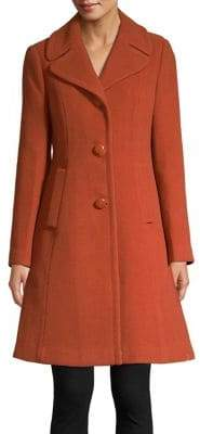 Kate Spade Wool Twill Fit-and-Flare Car Coat