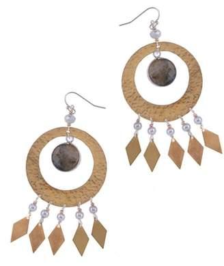 Nakamol Design Labradorite & Imitation Pearl Statement Earrings