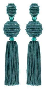 Oscar de la Renta Tasselled clip-on earrings