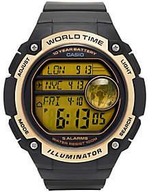 Casio Men's Black & Gold World Time Watch