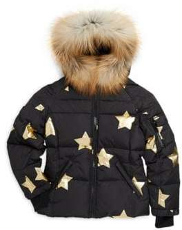 SAM. Girl's Blake Star Fox Fur-Trim Down Puffer Jacket