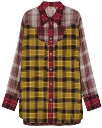 No.21 Plaid Cotton And Organza Shirt
