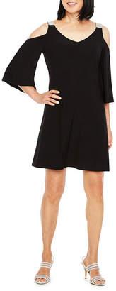 MSK 3/4 Sleeve Cold Shoulder Embellished Party Dress