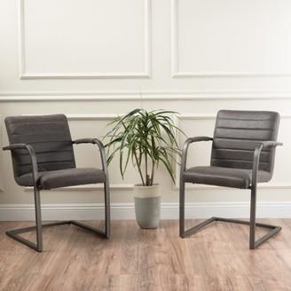 Noble House Elsie Slate Microfiber Modern Arm Chair (Set of 2)