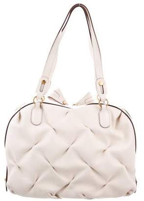 Smythson Ruched Leather Shoulder Bag