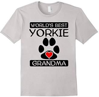 World's Best Yorkie Grandma Dog Paw Print Heart T-Shirt