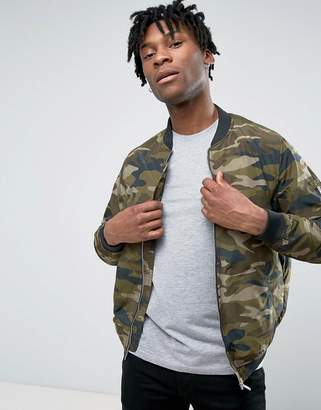 Pull&Bear Bomber Jacket In Camouflage Print