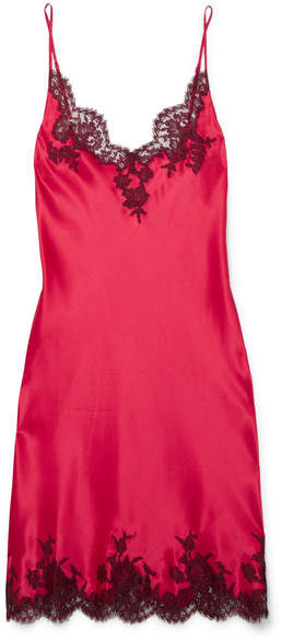 I.D. Sarrieri - Hôtel Particulier Chantilly Lace-trimmed Silk-satin Chemise - Red