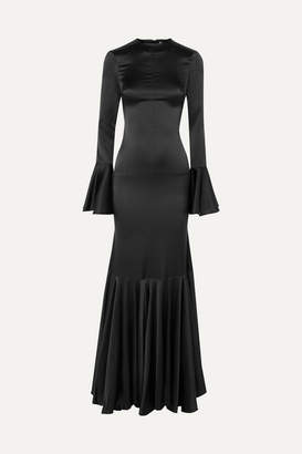 Caroline Constas Allonia Fluted Stretch-silk Satin Gown - Black
