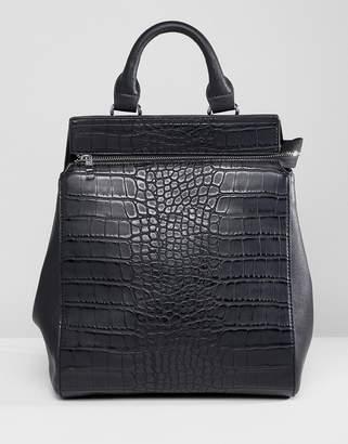 Liquorish Croc Effect Structured Backpack