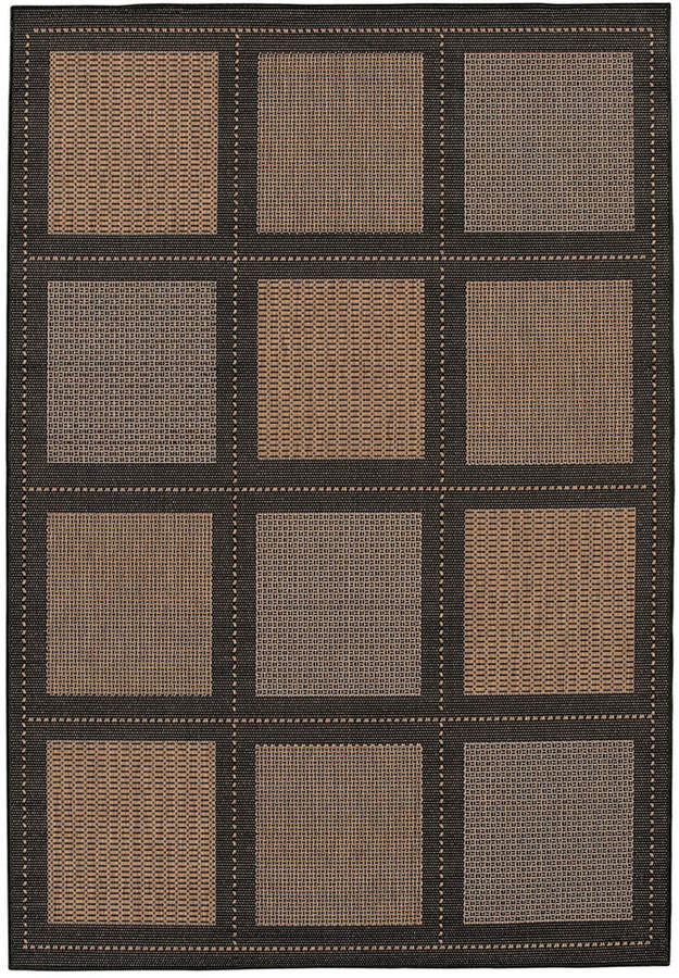 "Couristan Couristan Area Rug, Recife Indoor/Outdoor Summit/Cocoa-Black 1043/2500 2'3"" x 11'9"" Runner"