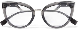 Fendi Cat-eye Acetate And Silver-tone Optical Glasses - Black