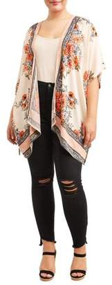 Romantic Gypsy Women's Plus Size Kimono with Ladder Lace