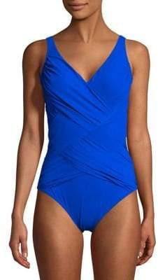 Gottex One-Piece Lattice Surplice Swimsuit $158 thestylecure.com