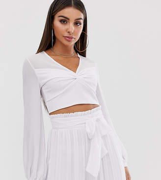 TFNC knot front long sleeve wrap two-piece crop top in white