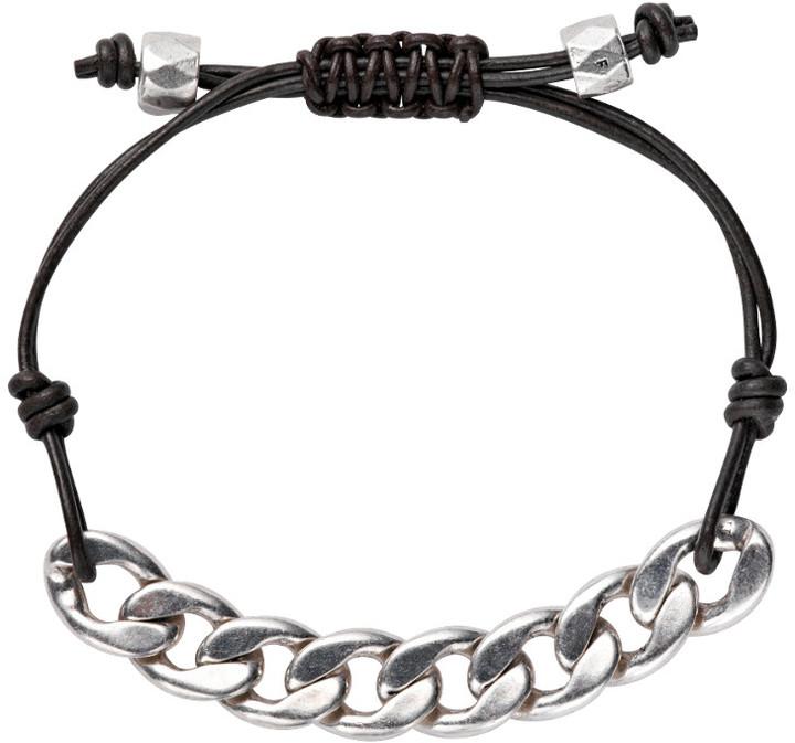 Fossil Large Link Leather Bracelet
